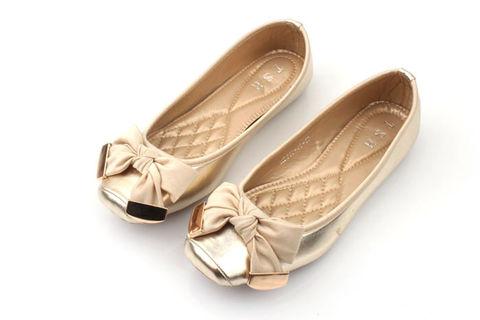 GOLDEN, BOW, BALLET, estilo, FLATS