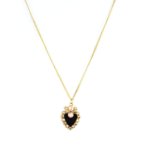GOLD,TONE,WITH,CRYSTALS,HEART,PENDANT,NECKLACE