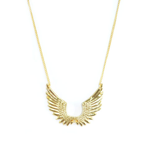 GOLD,TONE,WING,SPAN,NECKLACE