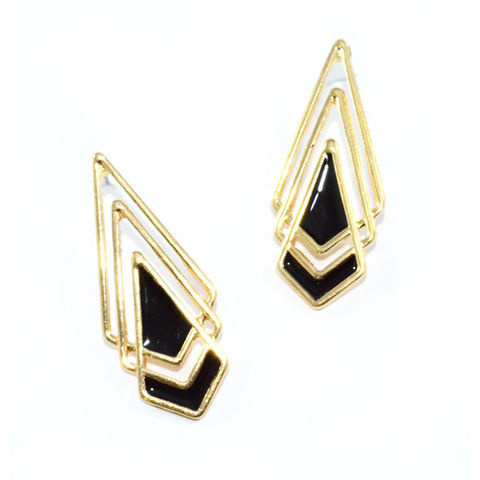 GOLD,TONE,TRIPLE,OVERLAY,RHOMBUS,EARRINGS