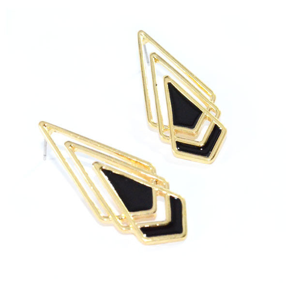 GOLD TONE TRIPLE OVERLAY RHOMBUS EARRINGS - product image