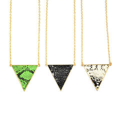 GOLD,TONE,TRIANGLE,SNAKE,PRINT,NECKLACE