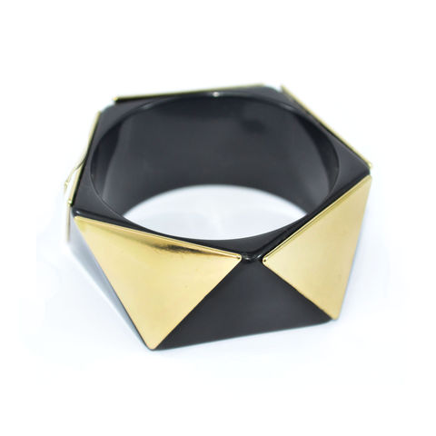 GOLD,TONE,TRIANGLE,METAL,WITH,BLACK,BANGLE,vendor-unknown,Cart2Cart