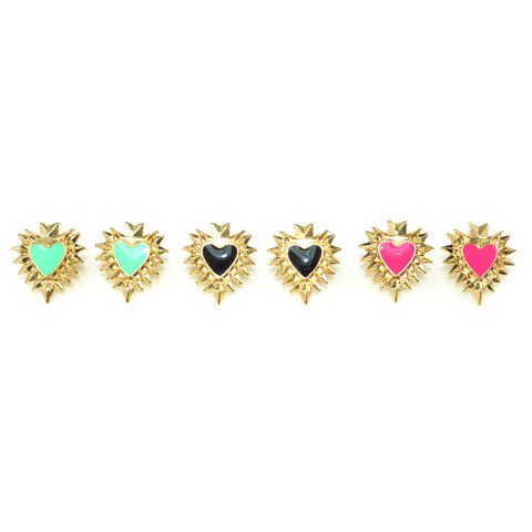GOLD,TONE,SPIKE,EDGE,HEART,EARRINGS