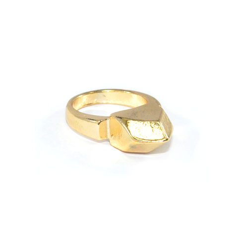 GOLD,TONE,SOLID,POLYGON,RING