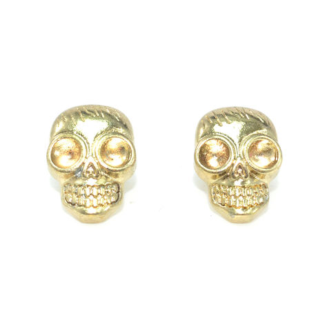 GOLD,TONE,SKULL,HEAD,EARRINGS