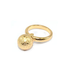 GOLD,TONE,RUGGED,SURFACE,BALL,RING