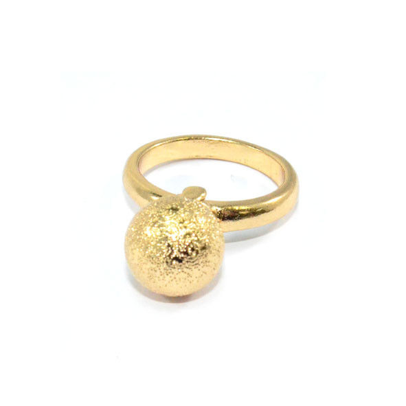 GOLD TONE RUGGED SURFACE BALL RING - product image