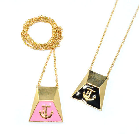 GOLD,TONE,PENDANT,WITH,ANCHOR,LOGO,NECKLACE