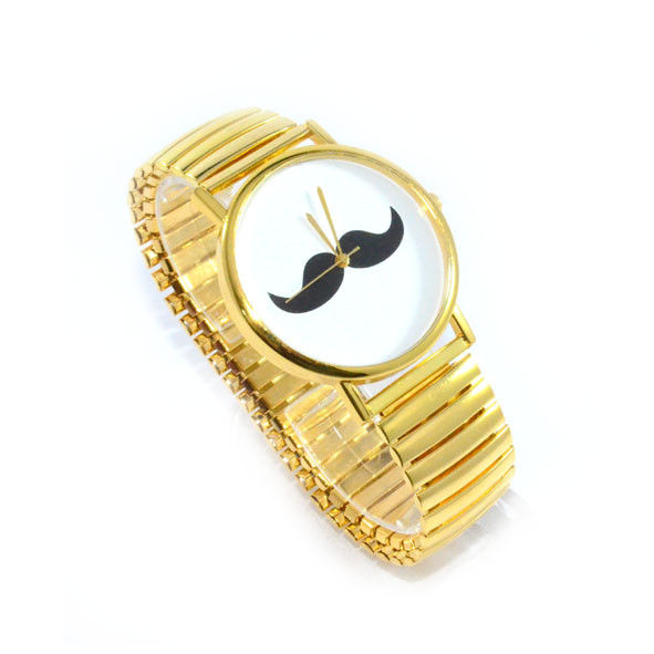 GOLD TONE MOUSTACHE WATCH - product image
