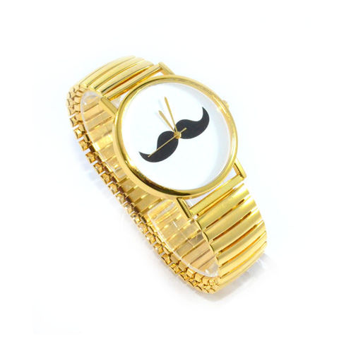 GOLD,TONE,MOUSTACHE,WATCH