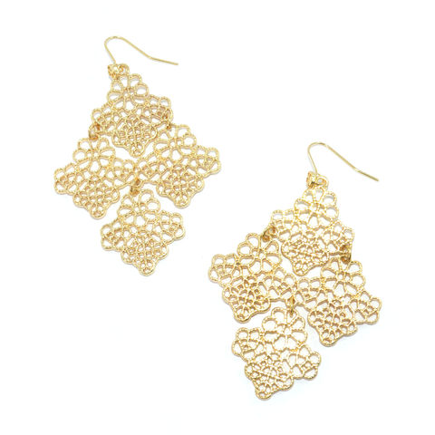GOLD,TONE,HOLLOW,PATTERN,RHOMBUS,DROP,EARRINGS
