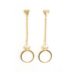 GOLD,TONE,HEART,AND,CHAIN,WITH,PEARL,RING,DROP,EARRINGS