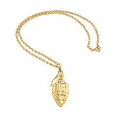 GOLD,TONE,GRENADE,WITH,CRYSTAL,NECKLACE
