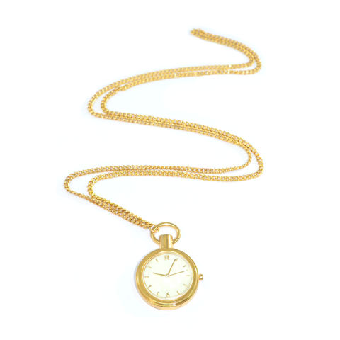 GOLD,TONE,FAUX,CLOCK,PENDANT,NECKLACE
