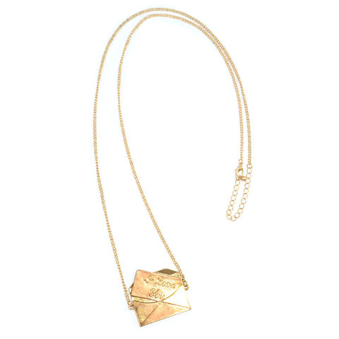 GOLD,TONE,ENVELOPE,LONG,CHAIN,NECKLACE