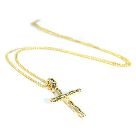 GOLD,TONE,CROSS,NECKLACE