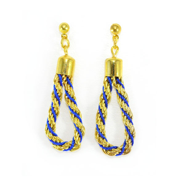 GOLD TONE CHAIN WITH BLUE STRAP EARRINGS - product image