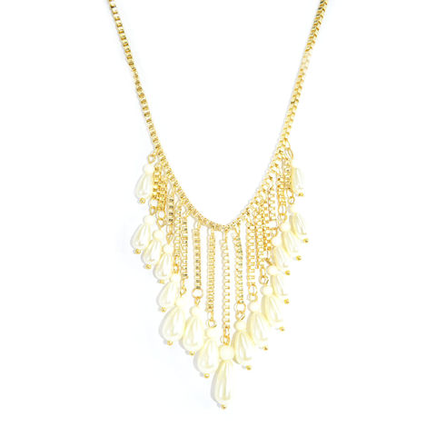 GOLD,TONE,CHAIN,WITH,BEADS,AND,PEARLS,NECKLACE