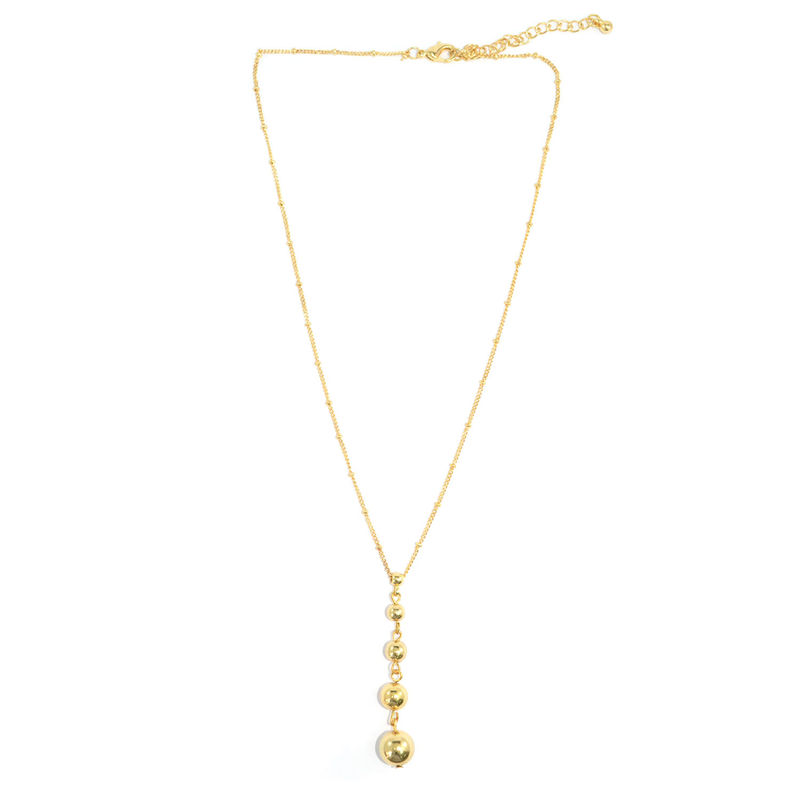 GOLD TONE BEAD ADJUSTABLE CHAIN NECKLACE - product image