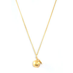 GOLD,TONE,APPLE,WITH,LEAF,NECKLACE