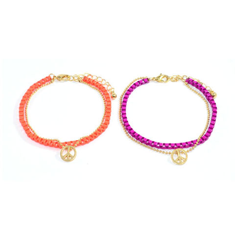 GOLD,TONE,AND,COLOUR,CHAIN,WITH,PEACE,LOGO,BRACELET