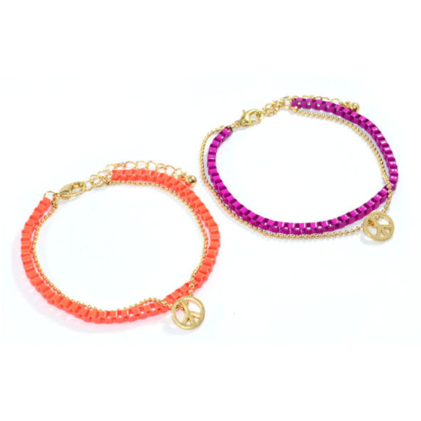 GOLD TONE AND COLOUR CHAIN WITH PEACE LOGO BRACELET - product image