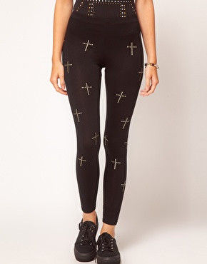 GOLD,CROSS,LEGGINGS
