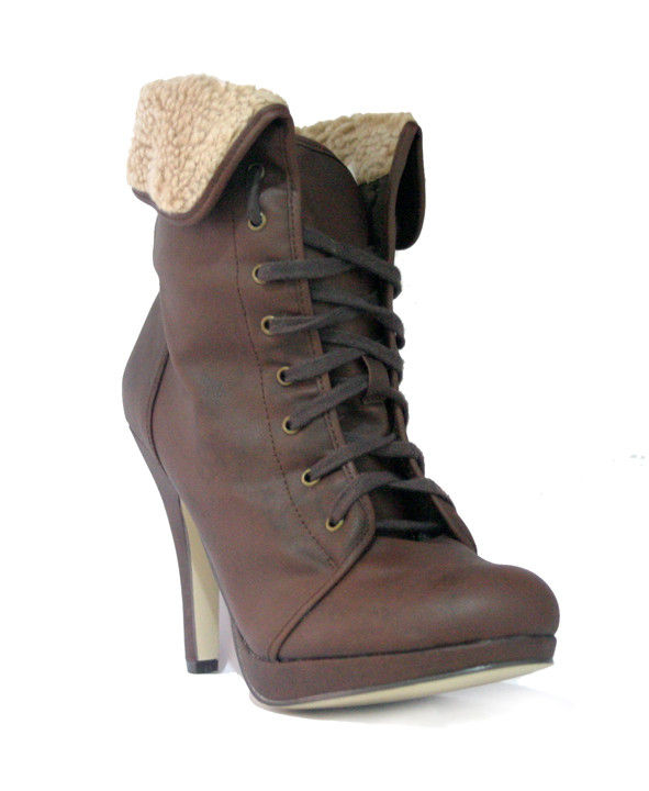 FUR LACE UP BOOTS - product image