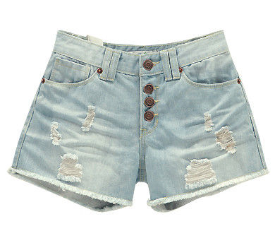FRAYED PATCH DENIM SHORTS - product image