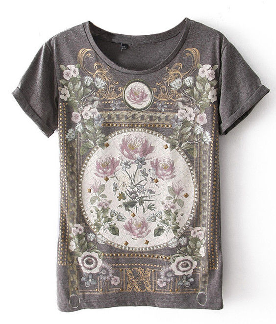 FLORAL PATTERN PRINT TEE - product image