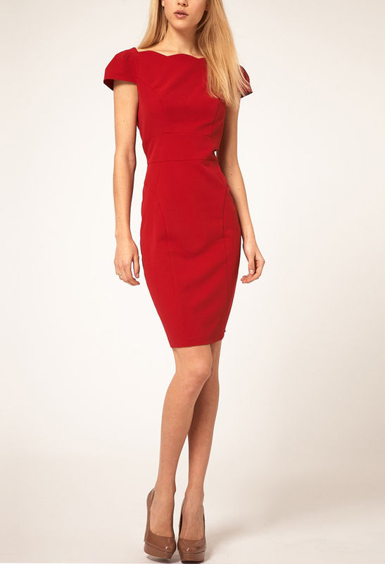 FLORAL CUT PENCIL DRESS RED - product image