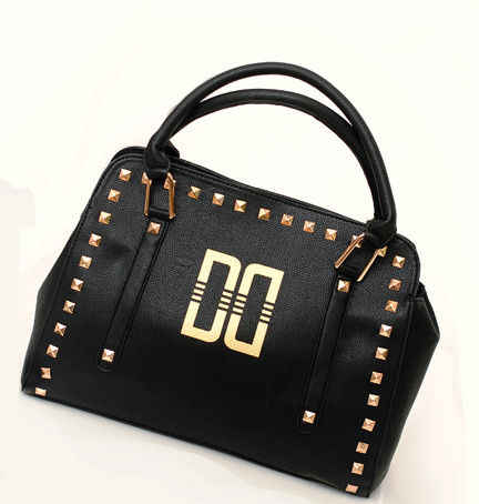 FAUX,LEATHER,WITH,GOLD,TONE,STUD,SATCHEL,BAG