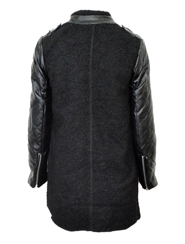 FAUX LEATHER QUILT SLEEVE COAT - product image