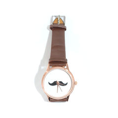 FAUX,LEATHER,MOUSTACHE,WATCH