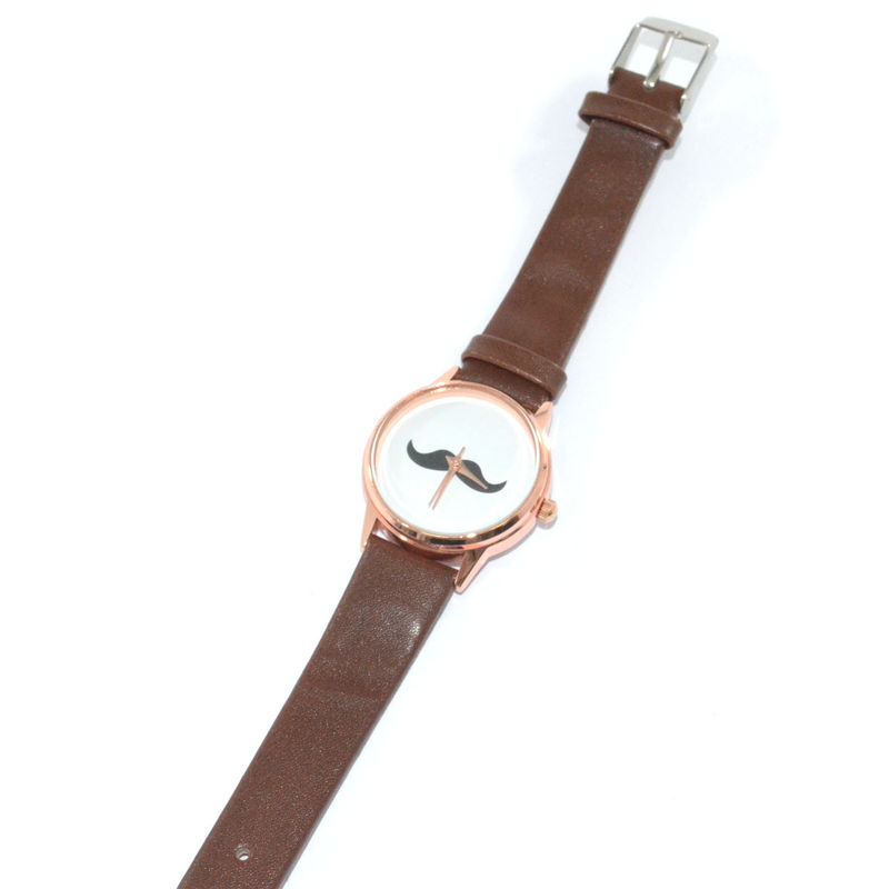 FAUX LEATHER MOUSTACHE WATCH - product image