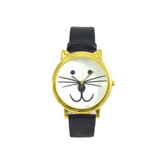 FAUX,LEATHER,CAT,WATCH,CAT WATCH, MEOW WATCH, GOLD CAT WATCH, GOLD FELINE WATCH, ANIMAL WATCH