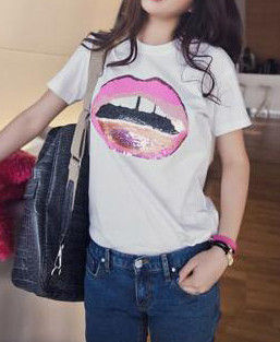EMBELLISHED LIP TEE - product image