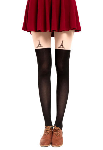 EIFFEL TOWER TATTOO PATTERN TIGHTS - product image