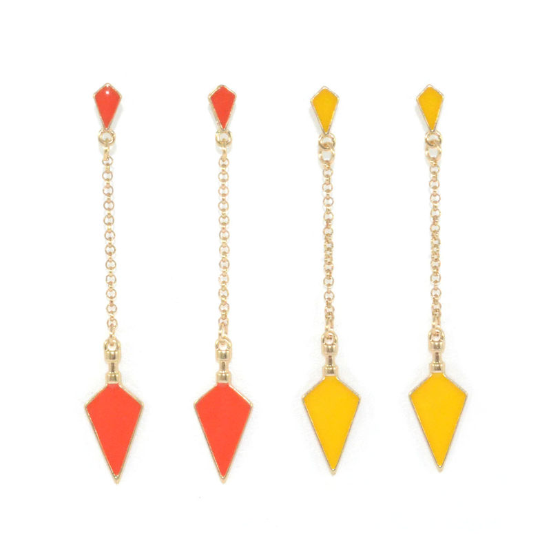 DOUBLE RHOMBUS CHAIN DROP EARRINGS - product image