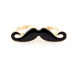 DOUBLE,FINGER,MOUSTACHE,RING,mustache ring, black moustache ring, gold mustache ring, buy moustache ring