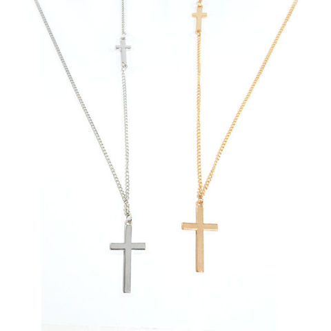 DOUBLE,CROSS,LONG,NECKLACE