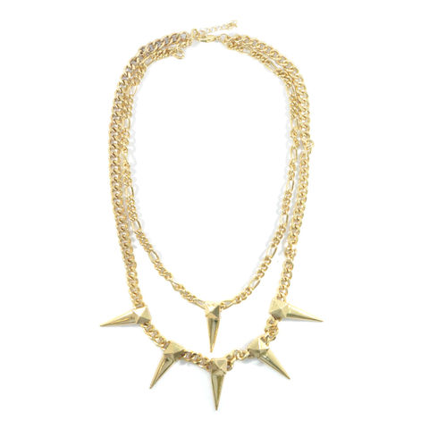 DOUBLE,CHAIN,WITH,SPIKE,NECKLACE