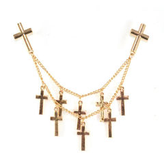 DOUBLE,CHAIN,WITH,CROSSES,COLLAR,NECKLACE