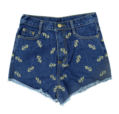 DOLLAR,PATTERN,DENIM,SHORTS