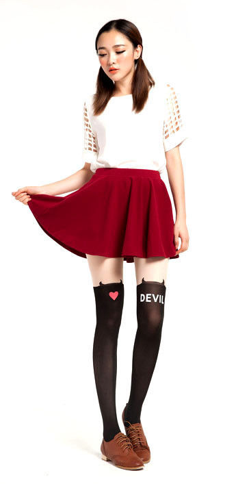 DEVIL HEART TATTOO PATTERN TIGHTS - product image
