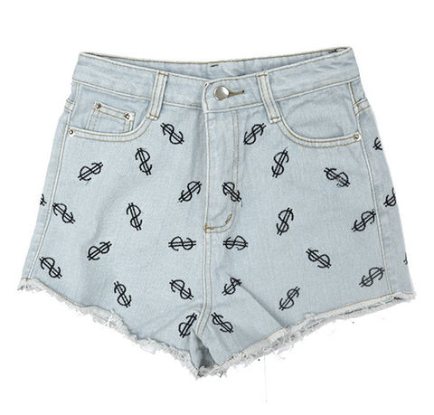 DENIM,DOLLAR,PATTERN,SHORTS