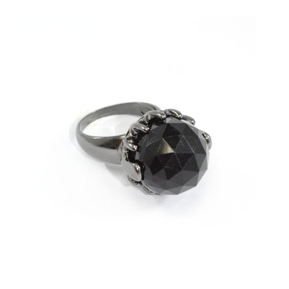 DARK SILVER WITH BLACK CRYSTAL RING - product image