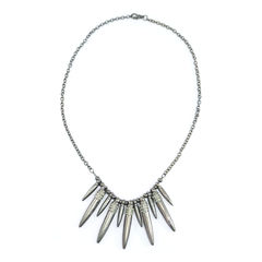 DARK,SILVER,TONE,BEADS,AND,CRYSTALS,SPIKES,NECKLACE