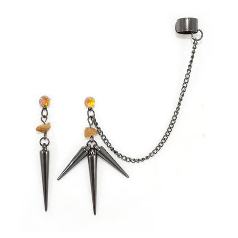 DARK,SILVER,SPIKES,AND,STONE,WITH,CRYSTAL,EARRINGS,EAR,CUFF